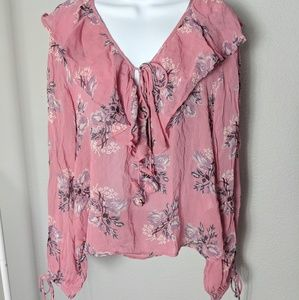 Topshop Pink Ruffle Floral Tie Long Sleeve Blouse
